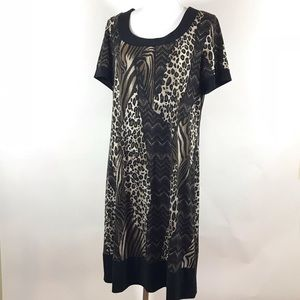 Ronni Nicole Dress Animal Print Knit Large